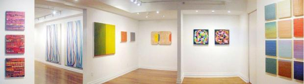 Panoramic view of A Few Conversations About Color, my curatorial effort for dm contemporary gallery, New York City, January-February 2015. I wanted to assemble a visual colloquy with the work of a number of artists working in a variety of mediums, all of which engaged color as a primary element. From left: Nancy Natale, Joanne Freeman (in far gallery), Matthew Langley, Ruth Hiller, Julie Karabenick, myself. Photo: the author