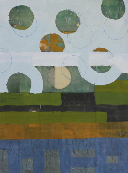 Amber George, Cumulus 3, 2014, encaustic on panel, 24 x 20 inches