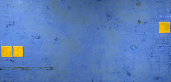Momentum Transferred, 2015, encaustic and oil on panel, 27 x 56 inches