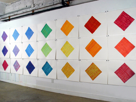 Soie, installation on studio wall, 2011, gouache on Arches, each 22 x 30 inches