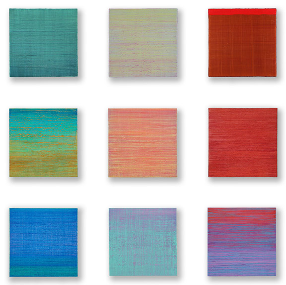 Grid of nine paintings from Silk Road, 2014-2015, encaustic on panel, each 12 x 12 inches in a 44 x 44-inch grid installed at dm contemporary, New York City, January 2015
