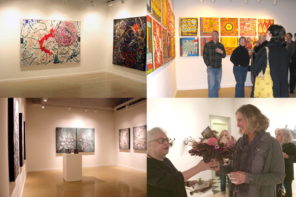 Clockwise from top left: Nancy Graves, 2010; Barbara Ellman, 2010; Pamela Blum presenting bouquet to Laura Moriarty at the opening of the final show, November 2016; Gregory Wright, 2013