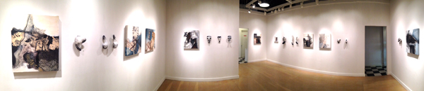 A panorama of the gallery's final show: paintings by Carol Bajen-Gahm and sculpture by Pamela Blum; below: closer view of work by Blum and Bajen-Gahm, also visible at far right in the panorama